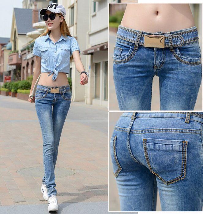 Девушка в джинсах с низкой посадкой