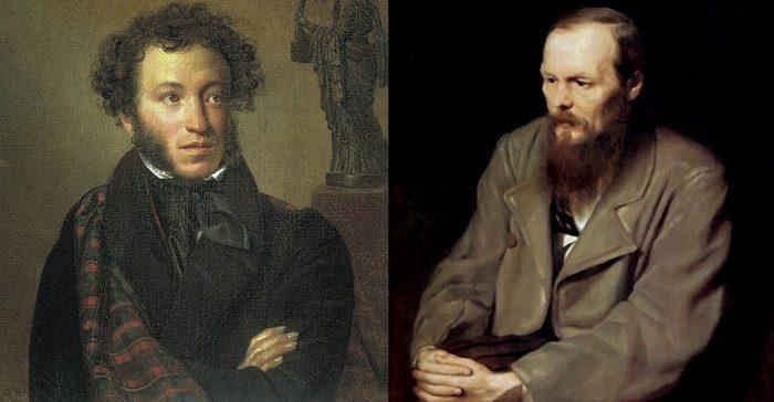Портреты Пушкина и Достоевского
