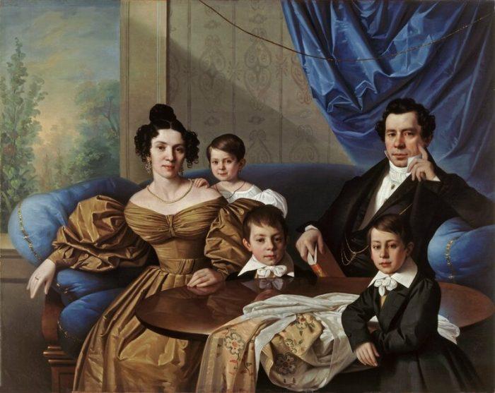 Дворянская семья: муж, жена, дочь и два сына