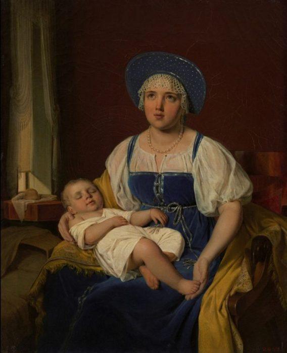 «Кормилица с ребёнком»: картина неизвестного художника