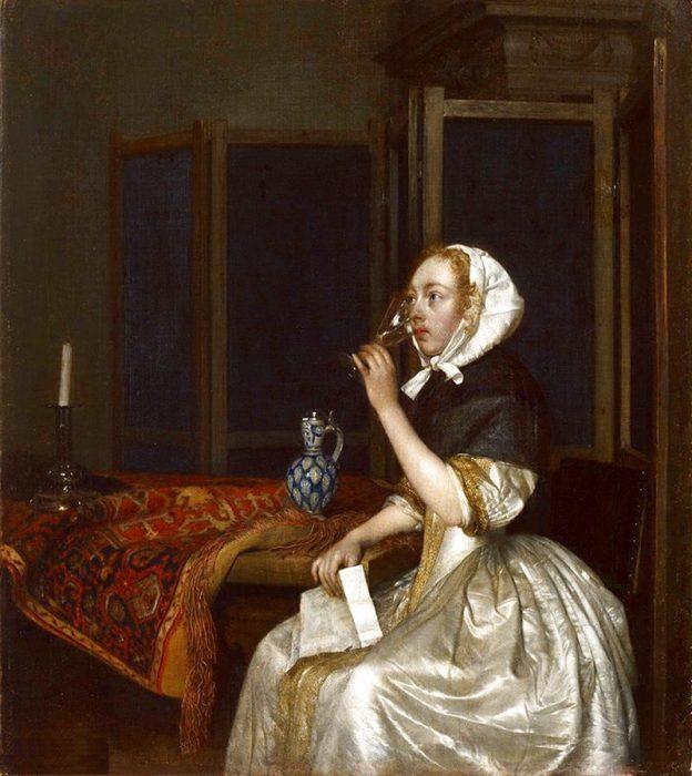 «Женщина, пьющая вино»: картина Герарда Терборха (17 век)