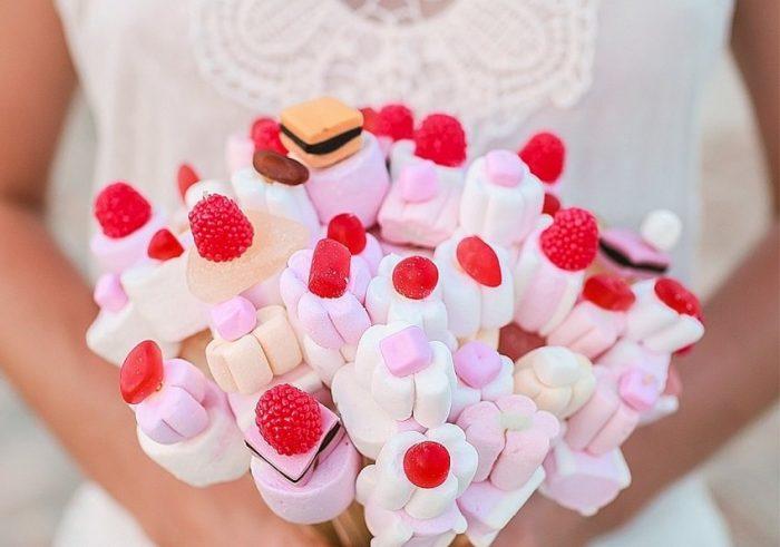 свадебный букет из маршмеллоу