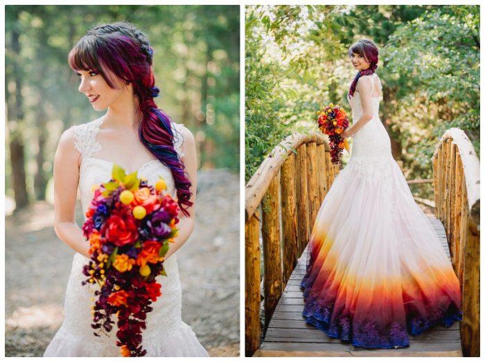 свадебное платье с эффектом деграде на подоле