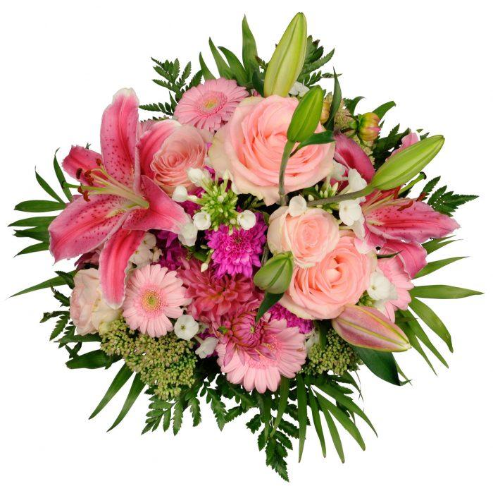 букет на 1 сентября с розами, лилиями и герберами