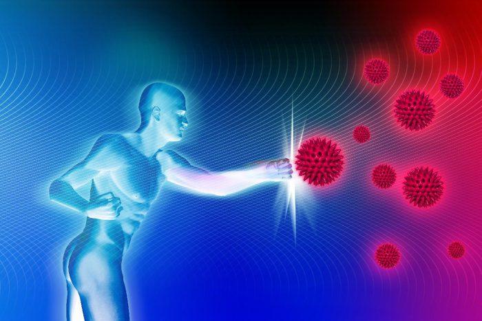 человек борется с инфекцией схема