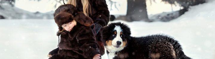 дети играют с собакой зимой