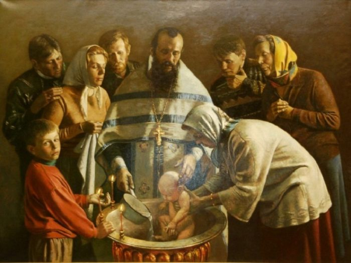 Крещение младенца на Руси