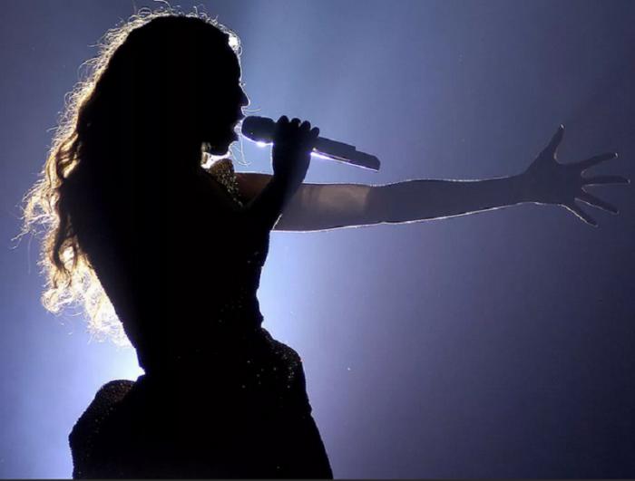 Певица на сцене поёт в микрофон