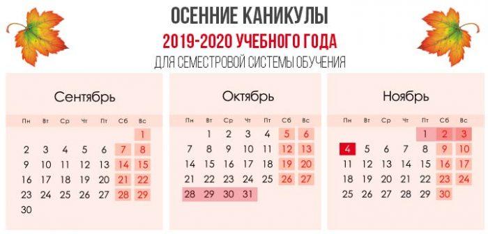 Осенние каникулы в 2019 по семестрам