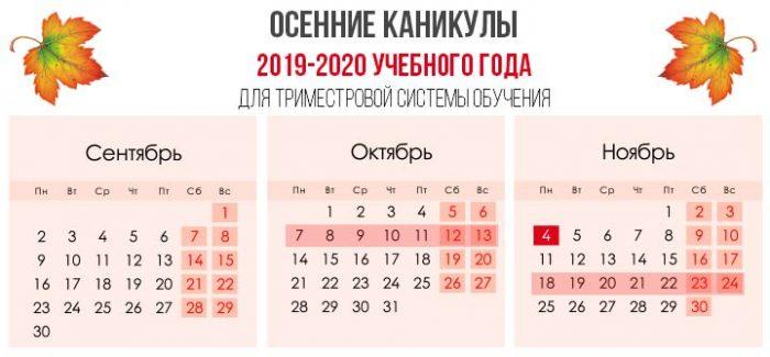 Осенние каникулы в 2019 по триместрам