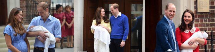 Принц Уильям и Кейти Миддлтон при выписке из роддома в разное время с тремя детьми