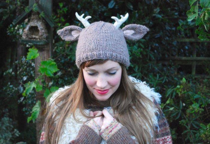 шапка с рожками и ушками оленя