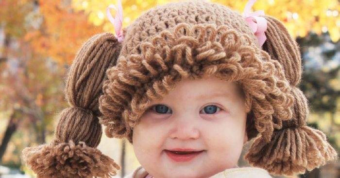 шапочка-парик для малышки