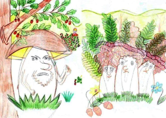 рисунок грибы на поляне