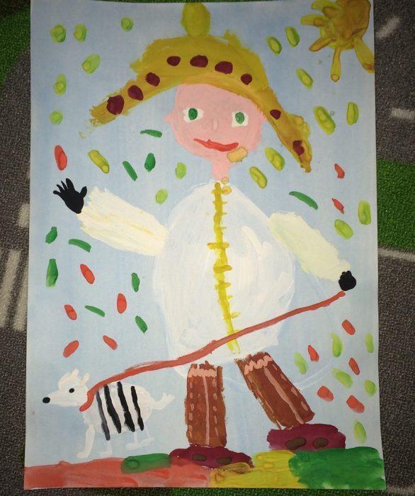 рисунок мальчик гуляет с щенком осенью