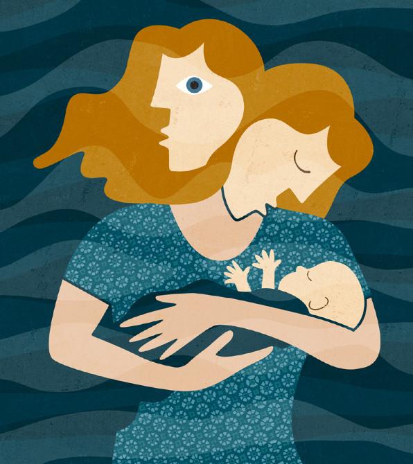 Мама с грудным ребёнком на руках с двумя лицами