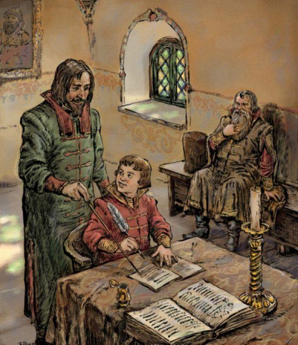Мальчик из прошлых веков занимается со своим наставником