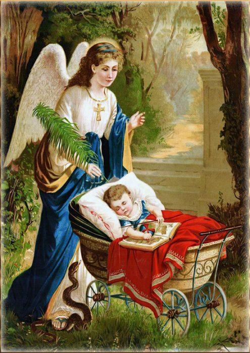 Ангел Хранитель у коляски с младенцем
