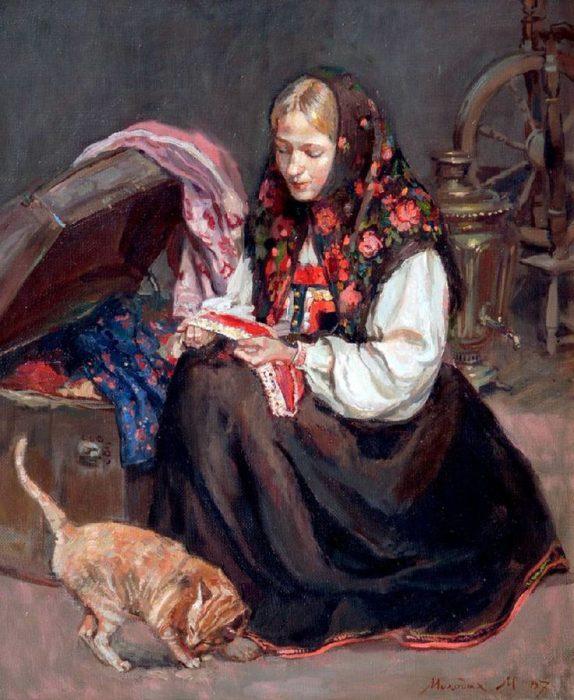 Крестьянская девушка рассматривает сундук с приданым