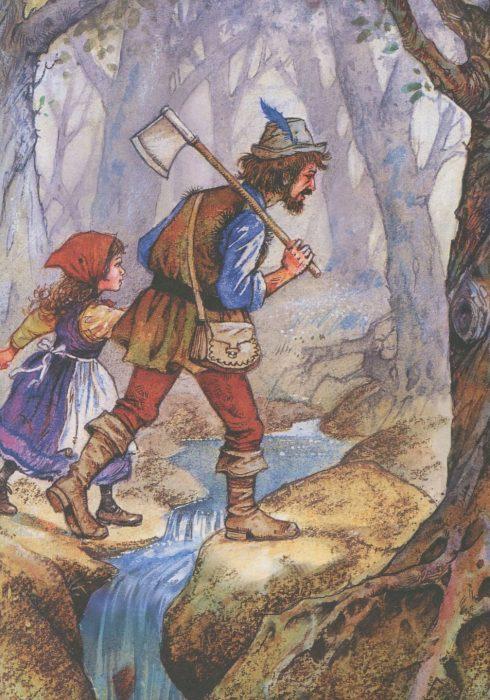 Сцена из сказки «Белоснежка и семь гномов»