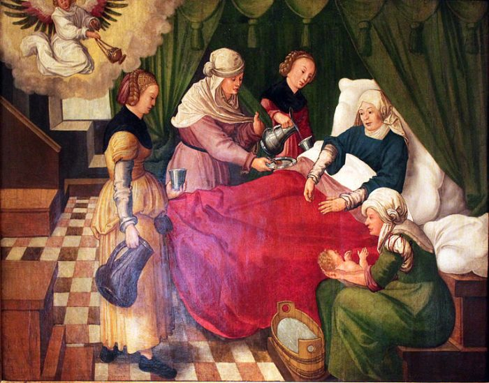Роды знатной дамы в Средневековье