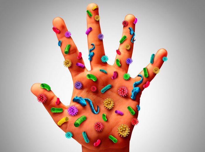 Микроорганизмы на руке
